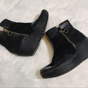 Fly London black suede & leather wedge booties